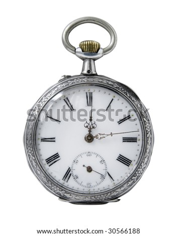 Old Pocket watch on a white background - stock photo