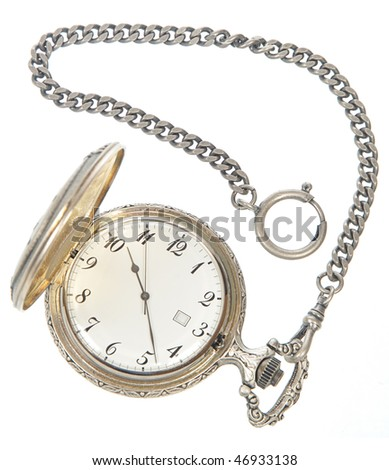 Old Pocket watch on a white background