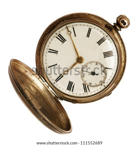 Old pocket watch, open, isolated on white background. - stock photo
