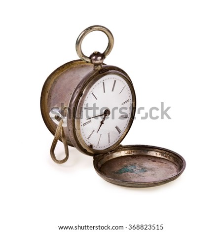 Old pocket watch, open, isolated on white background