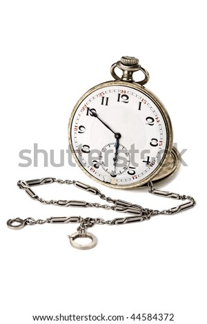Old pocket watch with a chain isolated on white background - stock photo