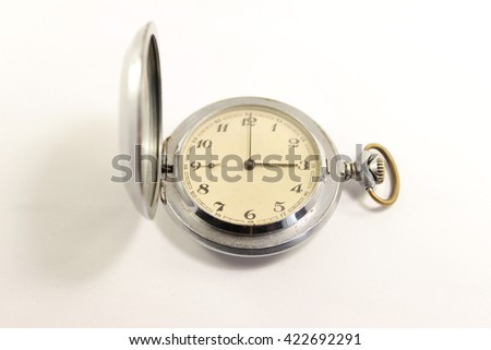 Old pocket watch with white background. Isolated - stock photo