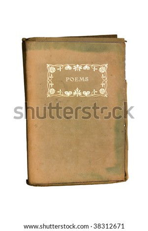 Old poetry book isolated on white - stock photo