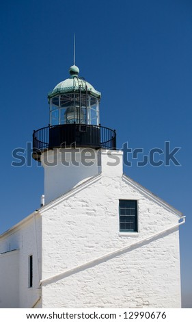 Old Point Loma lighthouse in San Diego Bay, California, the highest lighthouse above sea level