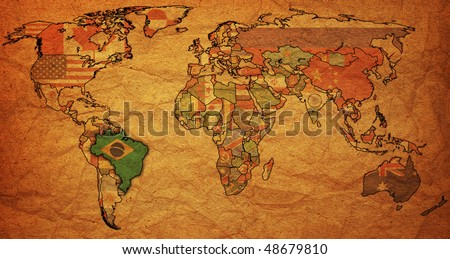 old political map of world with flag of brazil - stock photo