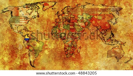 old political map of world with flag of columbia - stock photo