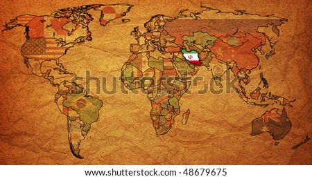 old political map of world with flag of iran