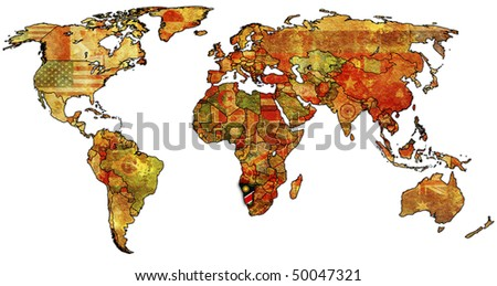 old political map of world with flag of namibia - stock photo