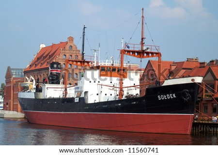 old port in gdansk, soldek boat - stock photo