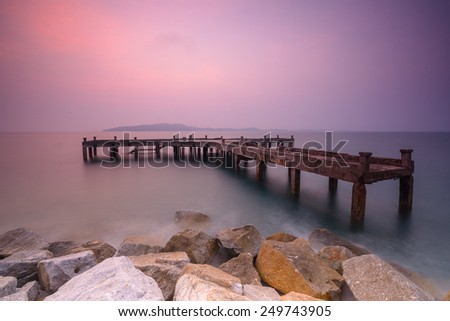 Old Port in the sea of tranquility. - stock photo