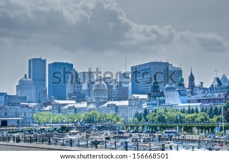 Old Port of Montreal, cloudy sky, hdr. - stock photo