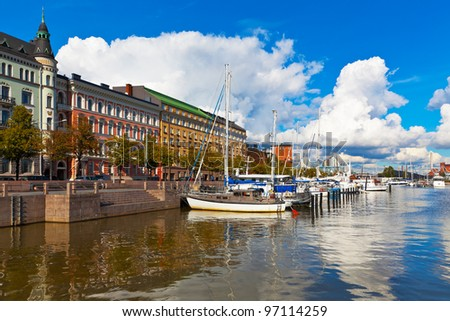 Old port pier in Katajanokka district in Helsinki, Finland - stock photo
