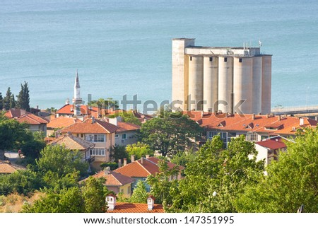 Old port quay in Balchik town in north Bulgarian Black sea coast - stock photo