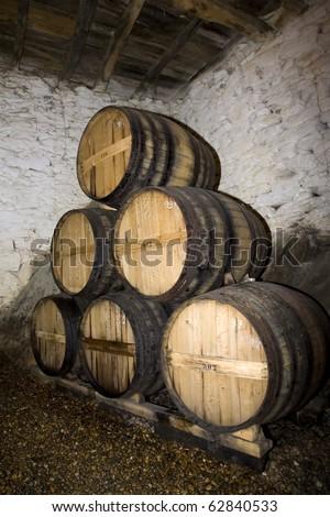 Old Port wine cellar at Douro, portugal - stock photo