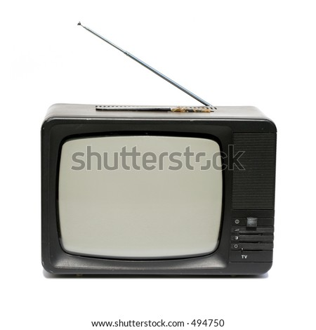 Old portable television photo over white - stock photo