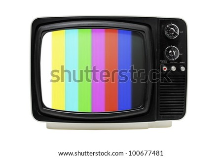 "Old 12"" portable television with color bars test image. - stock photo"