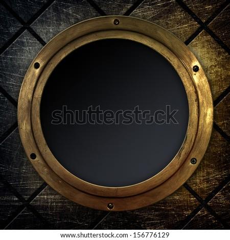 old porthole background - stock photo