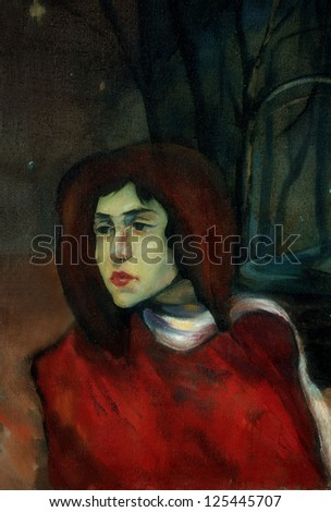 old portrait of the young girl in night park, painting by oil on canvas,  illustration