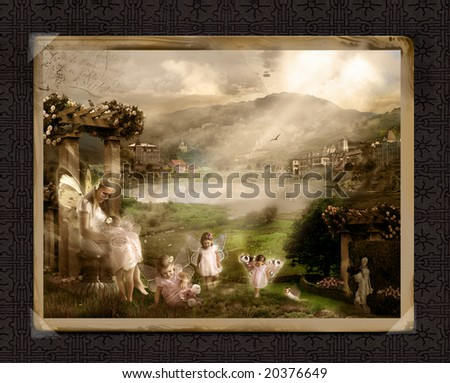 Old post card with fantasy world of fairies - stock photo