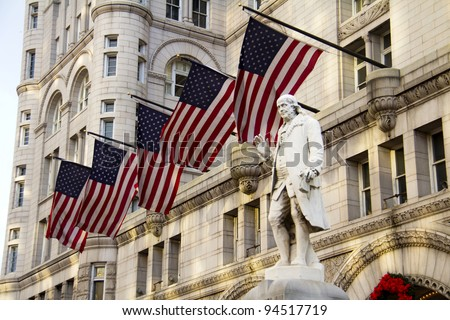 Old Post Office building with Benjamin Franklin Statue, Washington DC, United States - stock photo