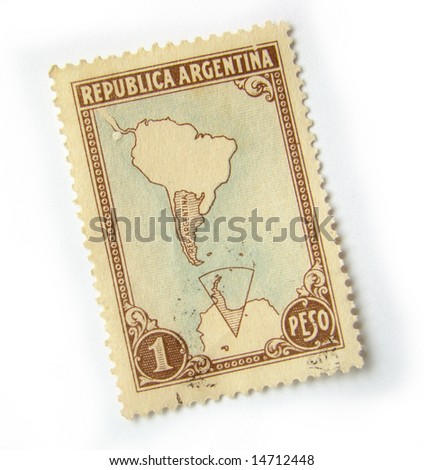 Old postage stamp from Argentina on white background. - stock photo