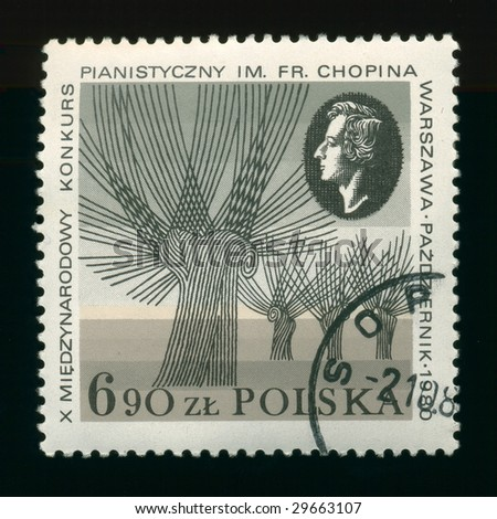 Old postage stamp from Poland  with Chopin.