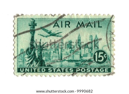 Old postage stamp from USA 15 cents