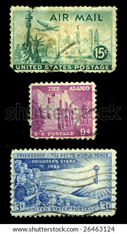 Old postage stamps of USA. Texas fortress Alamo,  Statue of liberty with New York skyline and children. - stock photo
