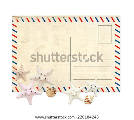 Old postcard and starfishes for scrapbooking. Isolated on white background
