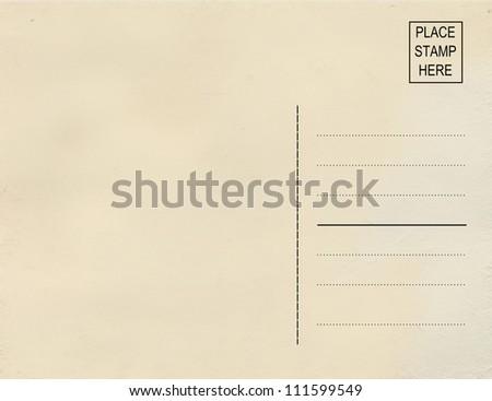 Old postcard (back) - stock photo