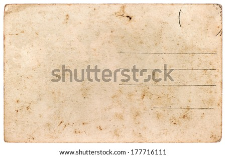 old postcard. blank paper sheet isolated on white background - stock photo