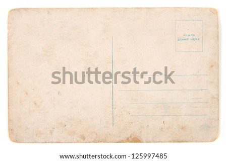 old postcard isolated on the white background