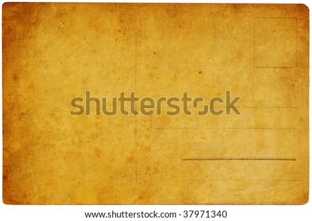 old postcard isolated on white background - stock photo