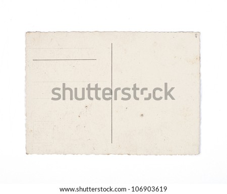 Old postcard on white background. - stock photo