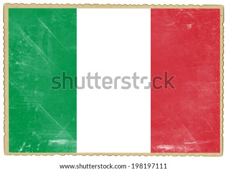 Old postcard with flag of Italy