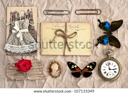 old postcards and vintage things. nostalgic scrap booking background - stock photo