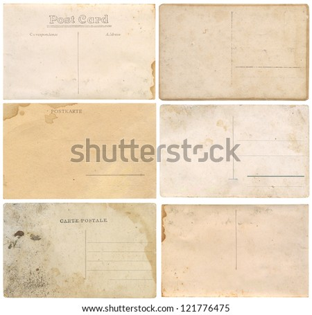 Old postcards isolated on white background