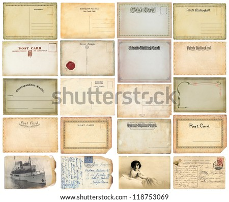 Old postcards set - stock photo