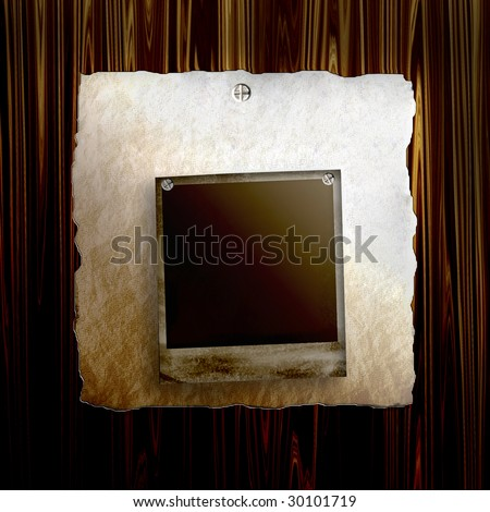 Old Poster On Wood With Blank Old Photo Frame - stock photo