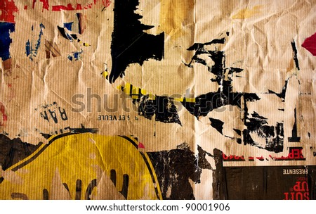 Old posters grunge textures and backgrounds - stock photo