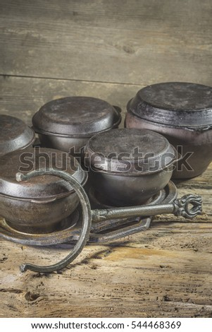 Old pots for cooking in the village