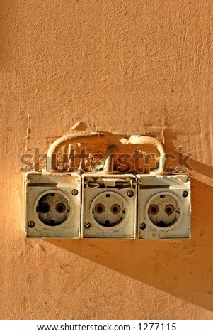 old power socket - stock photo