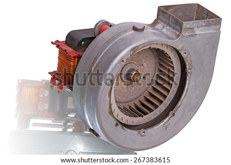 """Old powerful ���centrifugal fan """"Snail""""  isolated on white background - stock photo"""