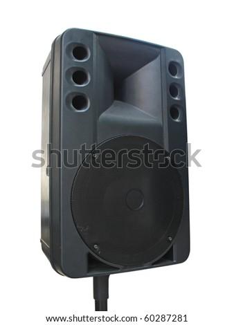 old powerful concerto audio speaker isolated on white background - stock photo