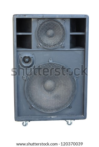 old powerful stage concerto audio speaker isolated on white background - stock photo
