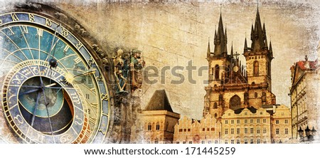 Old Prague - artistic vintage card - stock photo