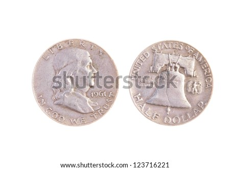 old 1961 President Benjamin Franklin silver half Dollar, with greater than face value due to silver content and rarity - stock photo