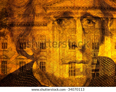 Old president, face of Jefferson with White House superimposed, US $20 bill - stock photo
