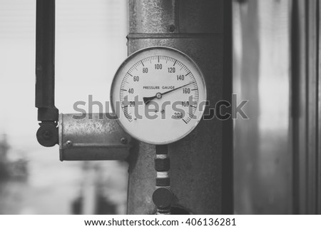 Old pressure gauge with Rusty in black and white tone