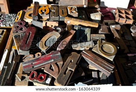 old print letters - stock photo